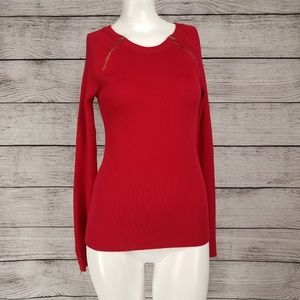 Carmen Marc Valvo Ribbed Sweater Pullover Zippers